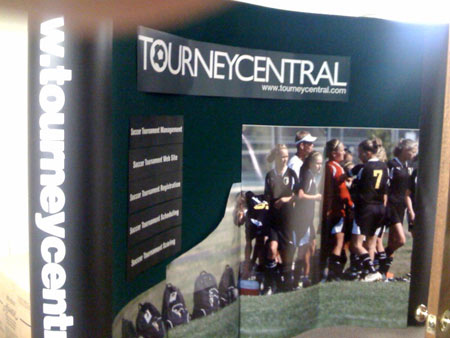 Our TourneyCentral.com NSCAA booth. A little more nip and tuck, but we're almost there.
